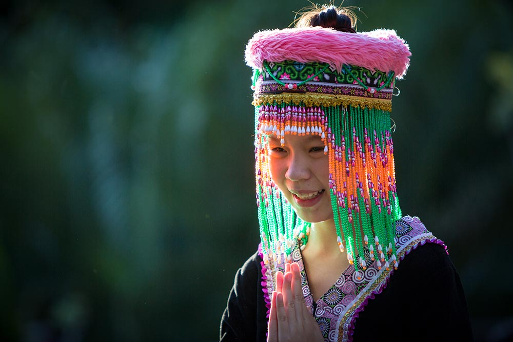 traditional lao dress and hat