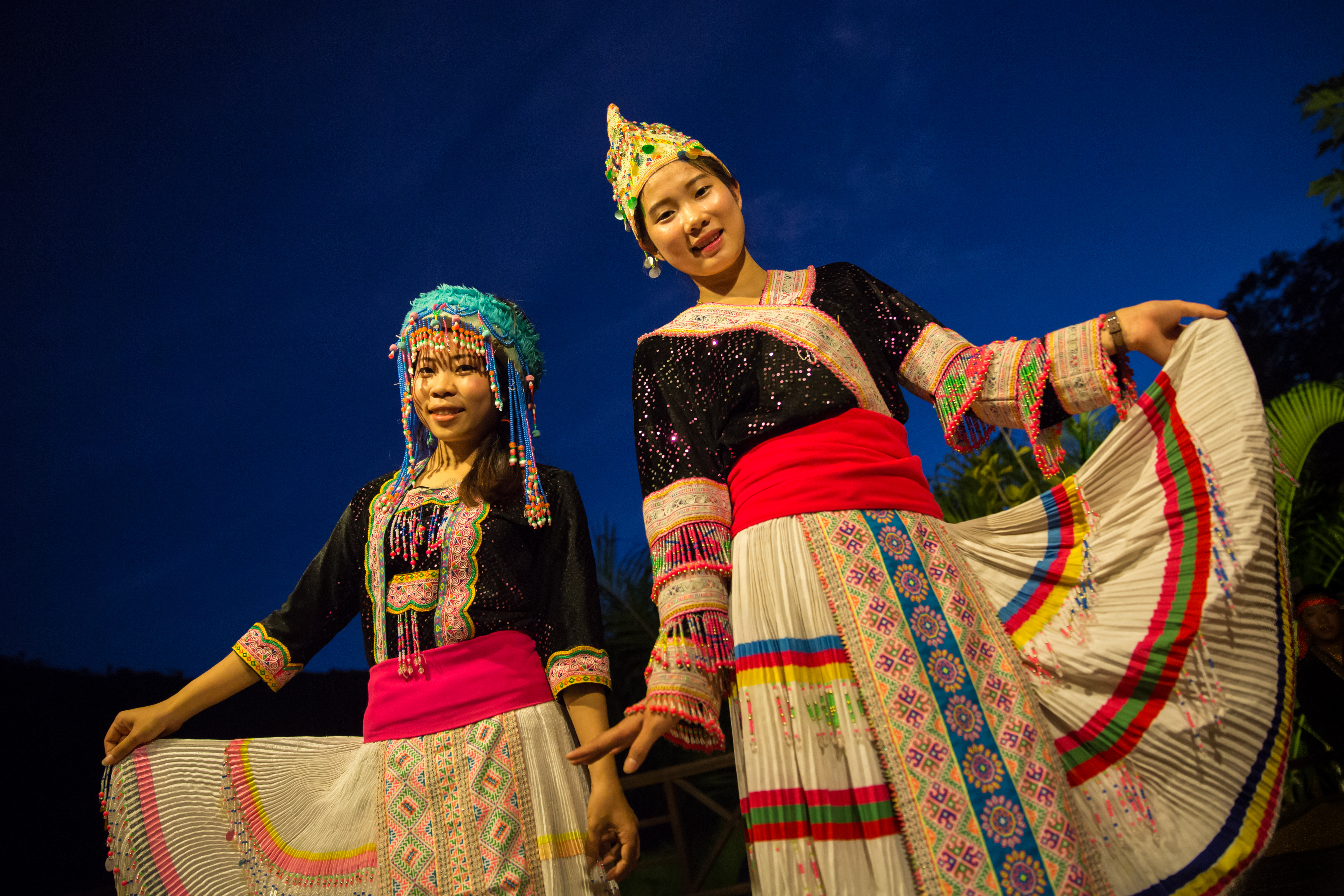 Traditional Lao dancers at the Luang Say Lodge, a luxury accommodation on the banks of the Mekong River, Pakbeng, Laos