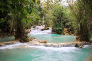 Kuang Si Falls Waterfall located in Luang Prabang, Laos